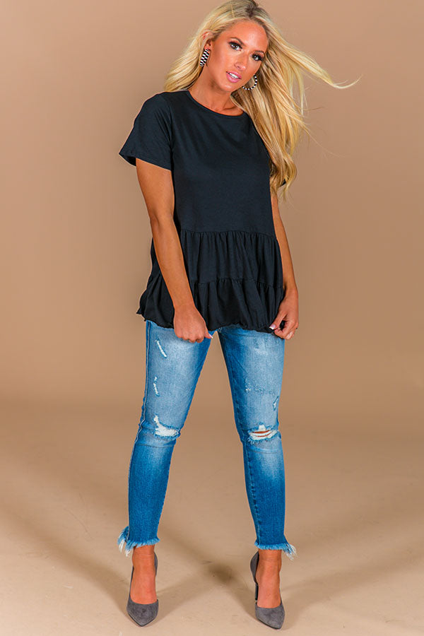 Brunch And Bubbly Shift Top In Black