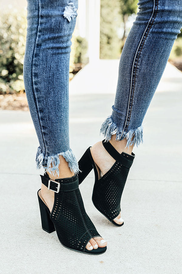 The Saylie Peep Toe Heel in Black