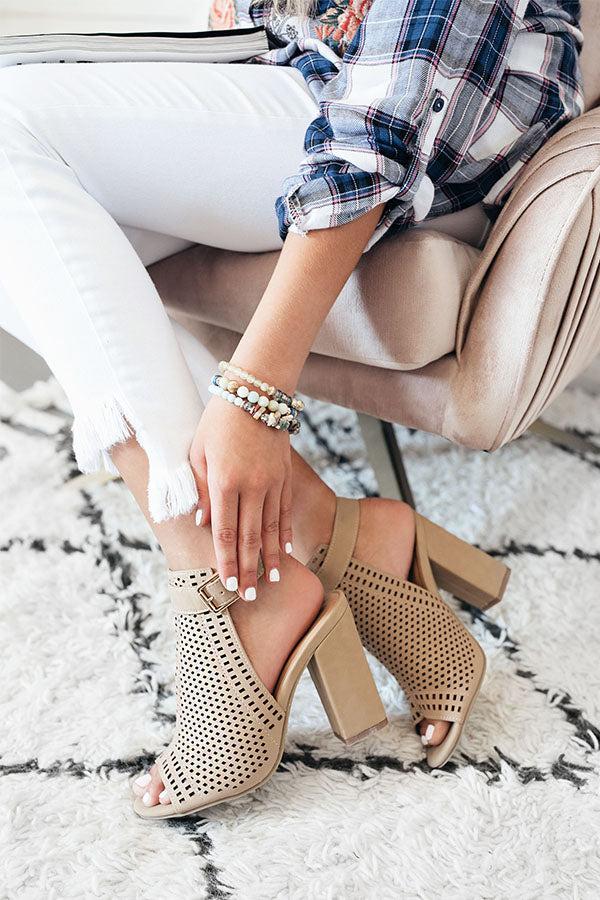 The Saylie Peep Toe Heel in Iced Latte