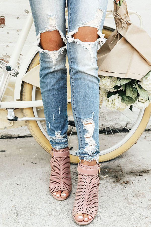 The Saylie Peep Toe Heel in Blush