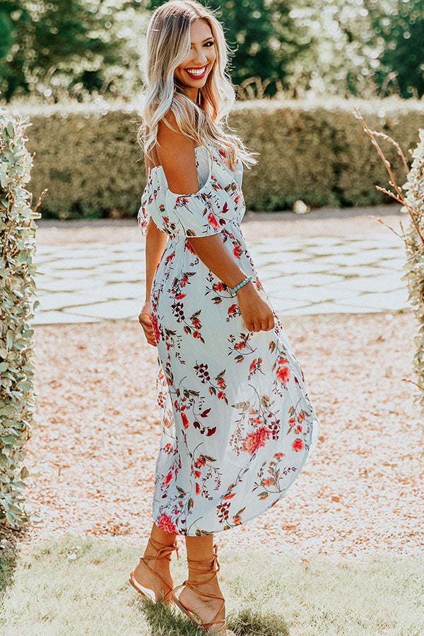 Floral Whimsy Midi Dress in White