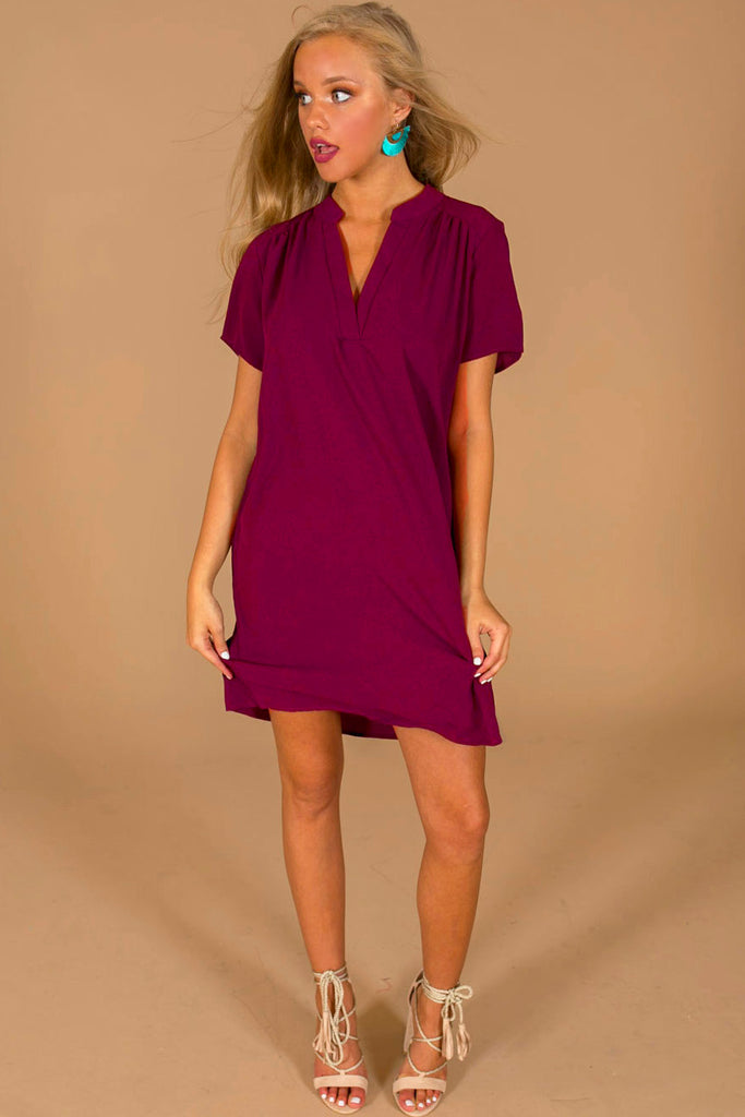Simply Chic Shift Dress In Maroon