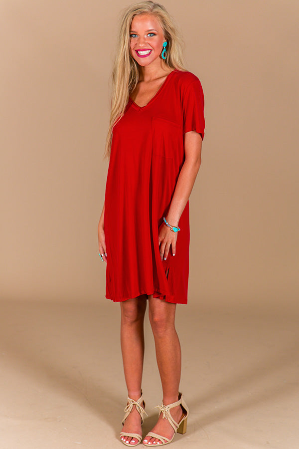 Farmers Market T-Shirt Dress in Red