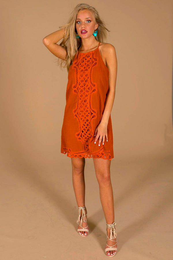 America's Sweetheart Crochet Dress in Rust