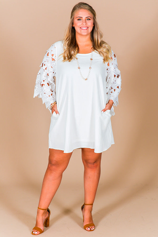 Daydream Bliss Crochet Shift Dress In White