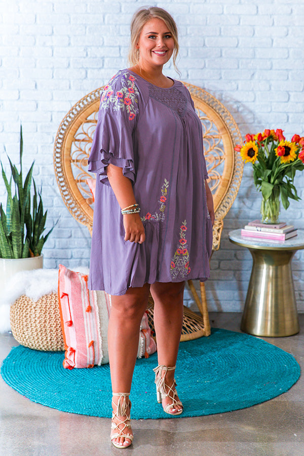 Wine On The Patio Embroidered Shift Dress in Lilac Grey