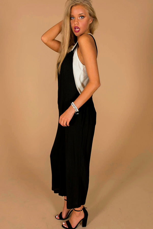 From Work To Play Jumpsuit in Black