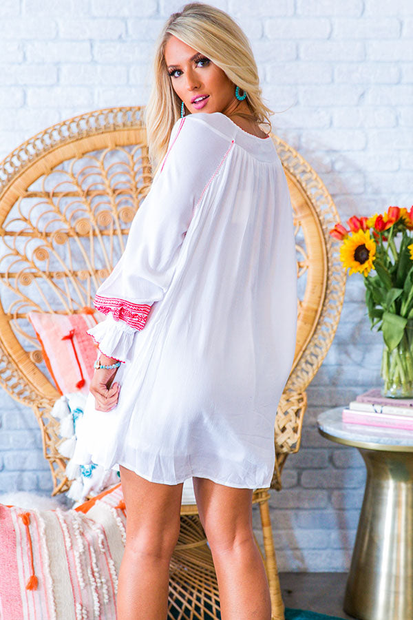 Make It A Mimosa Embroidered Shift Dress in White