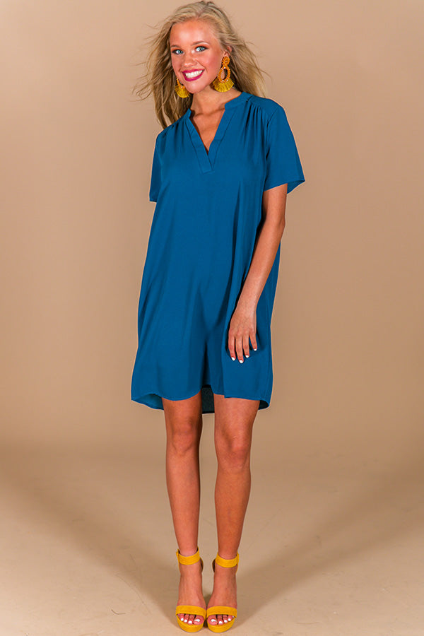 Simply Chic Shift Dress In Teal