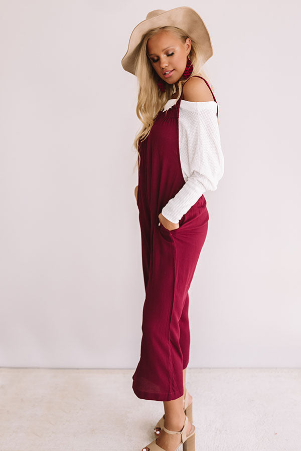 From Work To Play Jumpsuit in Wine