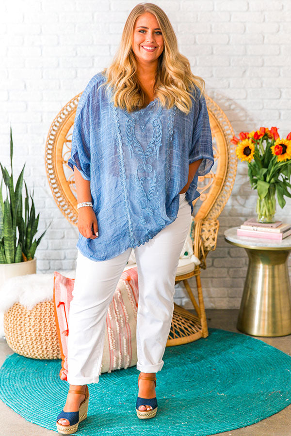 Breezy Babe Shift Tunic In Blue