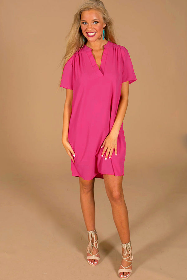 Simply Chic Shift Dress In Fuchsia