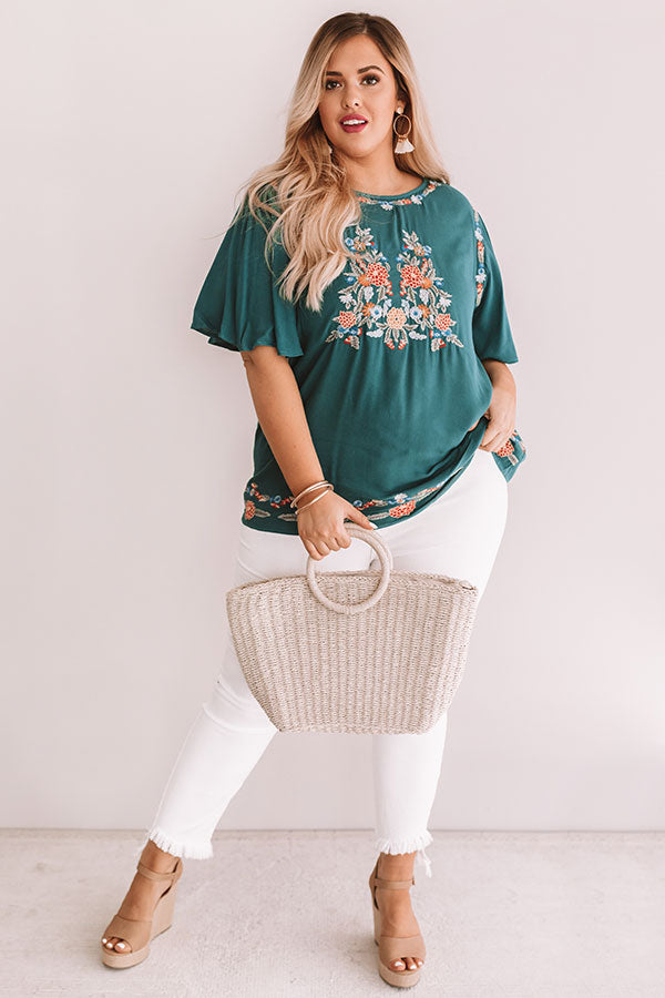 Margarita Calling Embroidered Shift Top in Teal