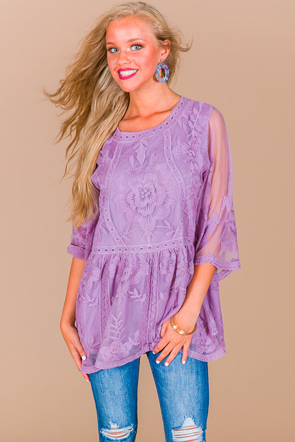 Blissful Thinking Lace Babydoll Top in Dusty Purple