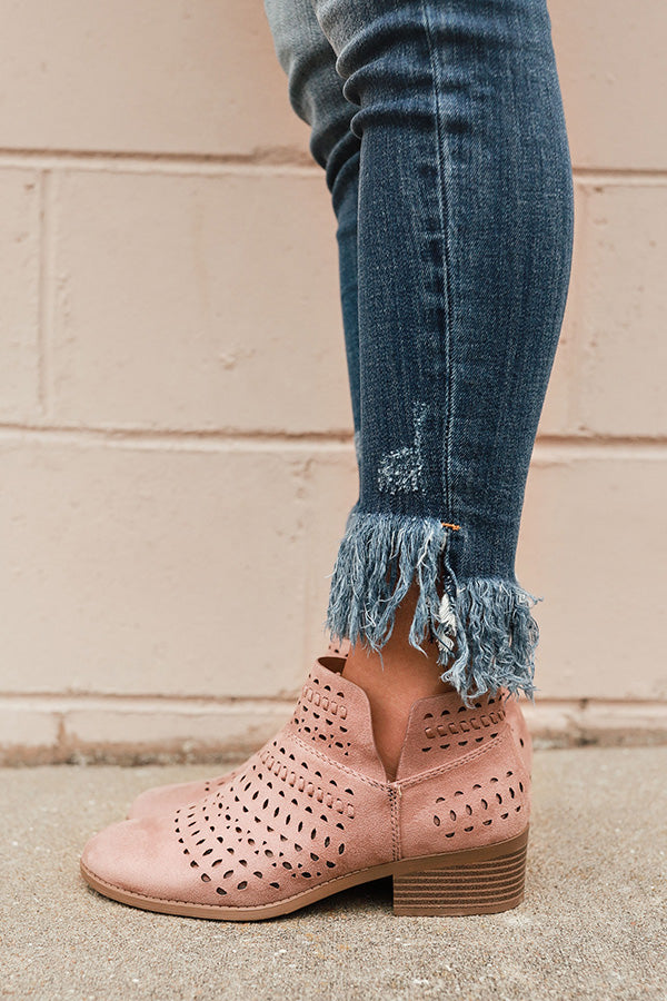 The Jenna Perforated Bootie in Blush