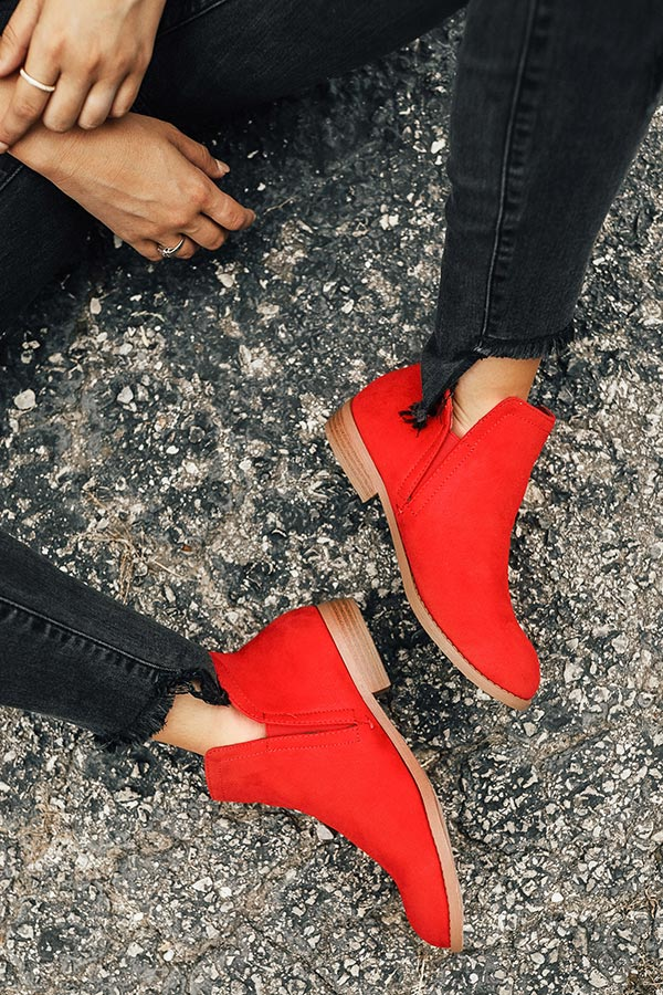 The Poppy Faux Suede Bootie in Red