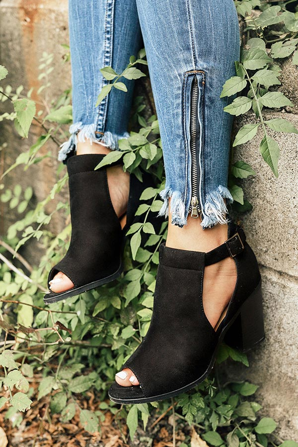 The Addison Peep Toe Bootie in Black