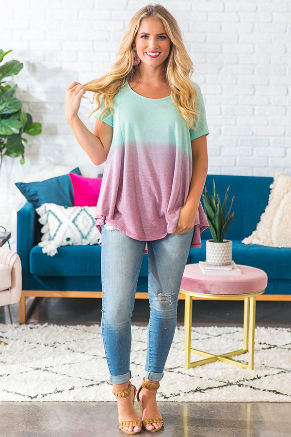 Cape Town Crush Ombre Top in Mint