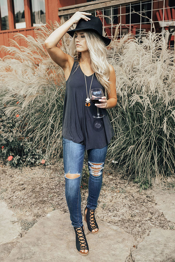 Perfect Harmony Shift Tank in Charcoal