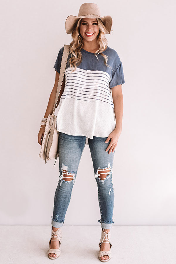 Latte Please Mineral Washed Stripe Top in Blue