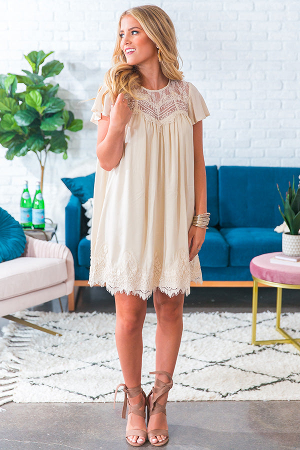 Jetting To Rome Lace Shift Dress in Cream