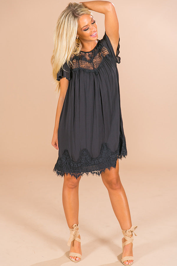 Jetting To Rome Lace Shift Dress in Black