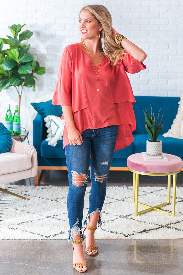 Make It A Mimosa Shift Top in Light Rust