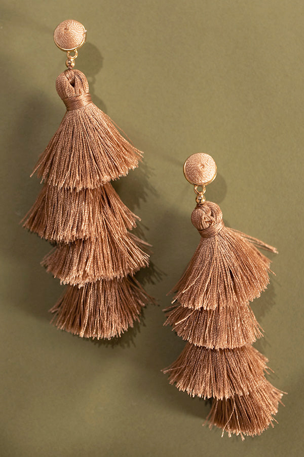 Vineyard Vibes Tassel Earrings In Taupe