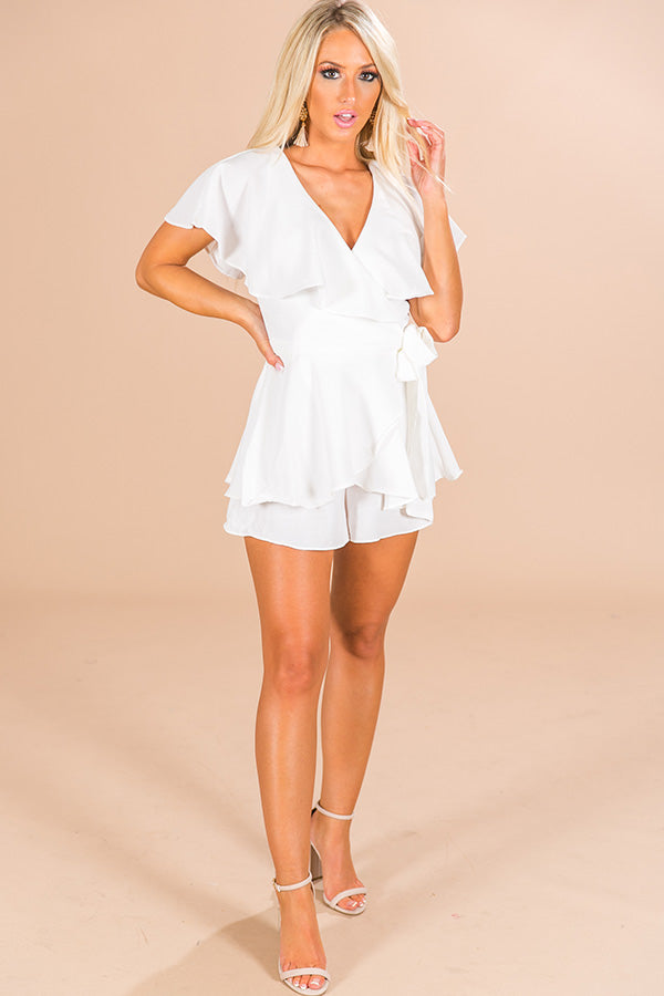 6aef5328d All The Goals Wrap Romper in White • Impressions Online Boutique