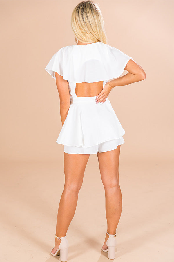 All The Goals Wrap Romper in White