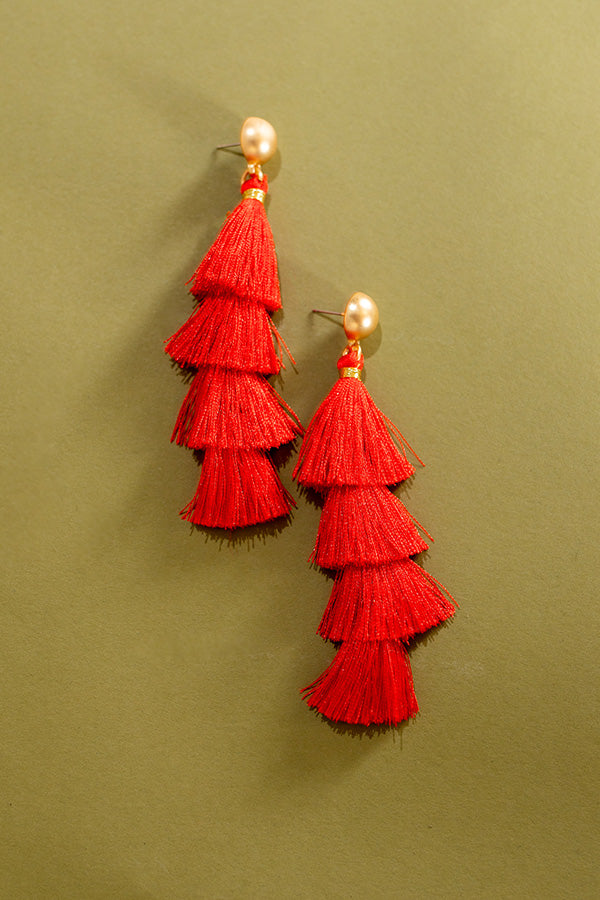 Saturday Vibes Tassel Earrings In Red