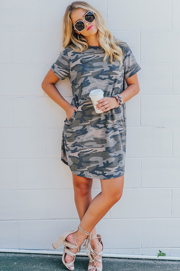 Well Traveled Camo T-shirt Dress in Army Green
