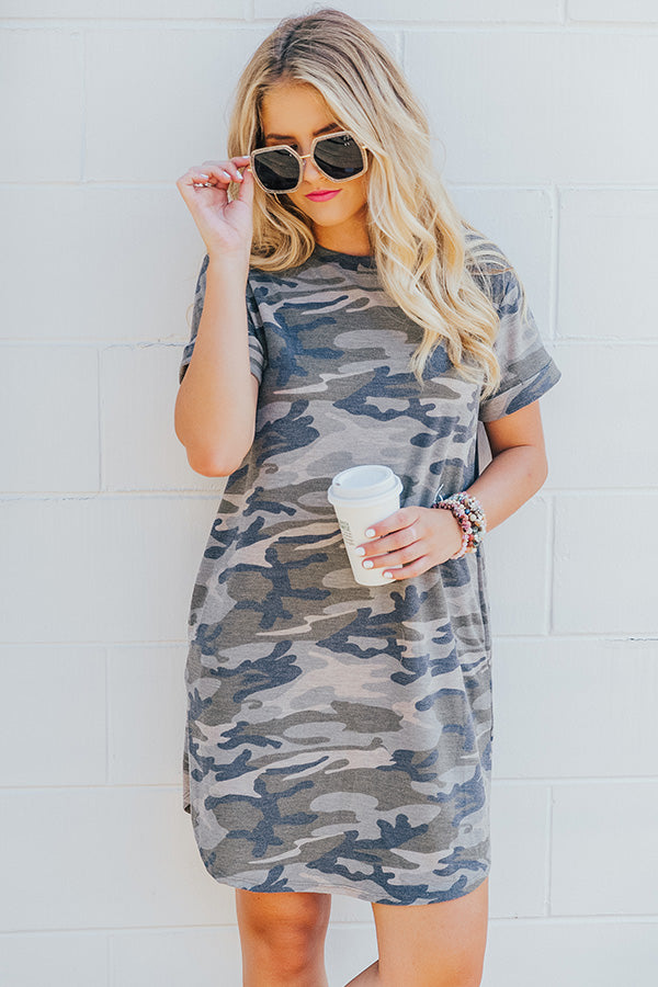 Well Traveled Camo T-shirt Dress