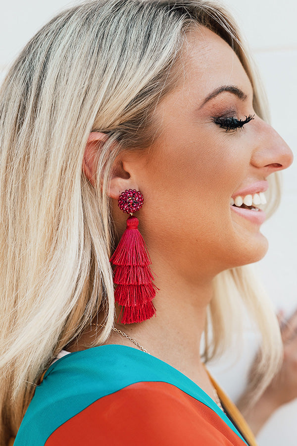 Bahama Beach Days Tassel Earrings In Fuchsia