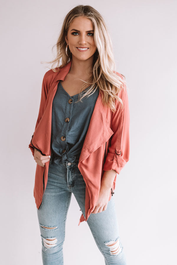 Breezy Babe Lightweight Jacket in Coral