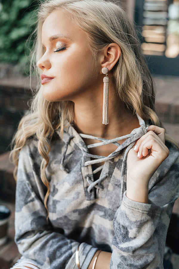Tahiti Time Tassel Earrings In Iced Mocha