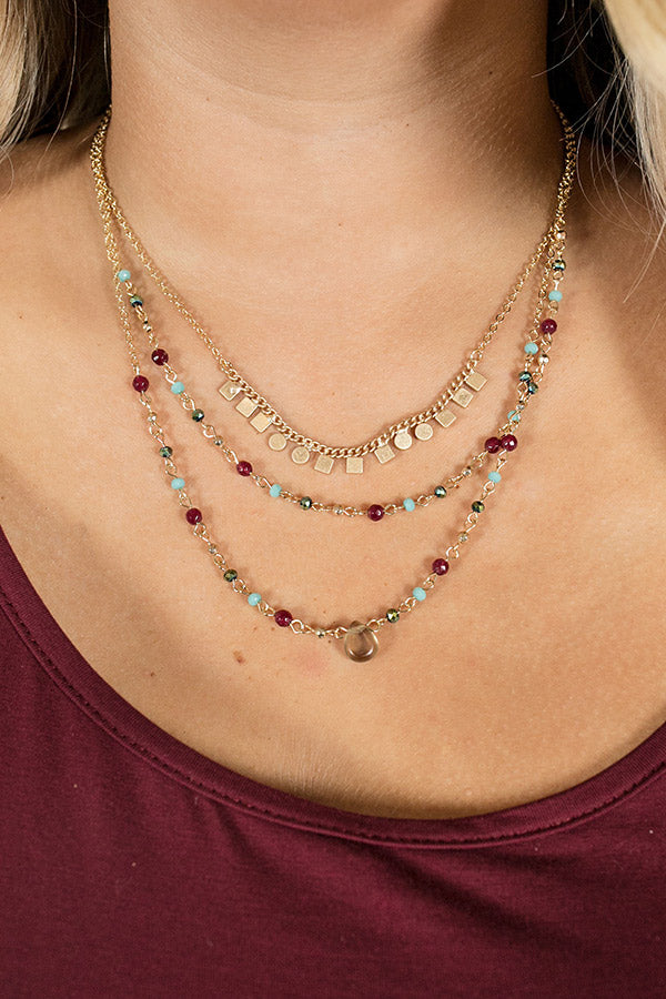 For The Love Of Glam Layered Necklace In Berry