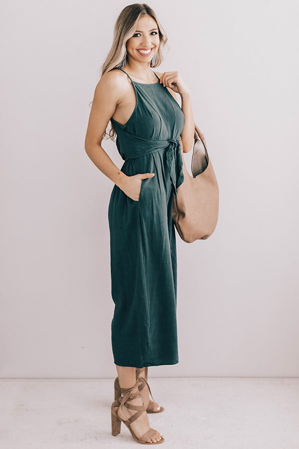 Better In Barcelona Jumpsuit in Hunter Green