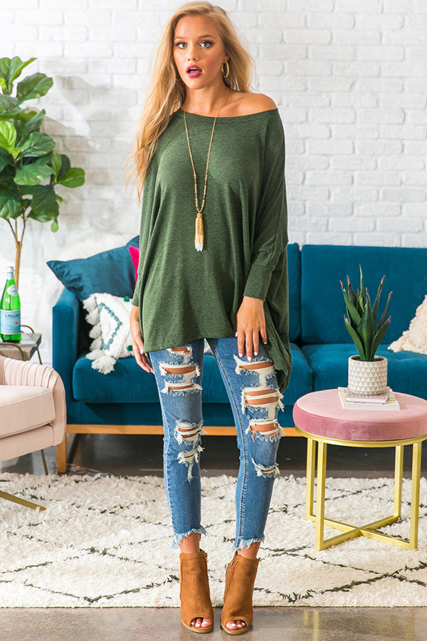 Pumpkin Spice Perfection Shift Top in Olive