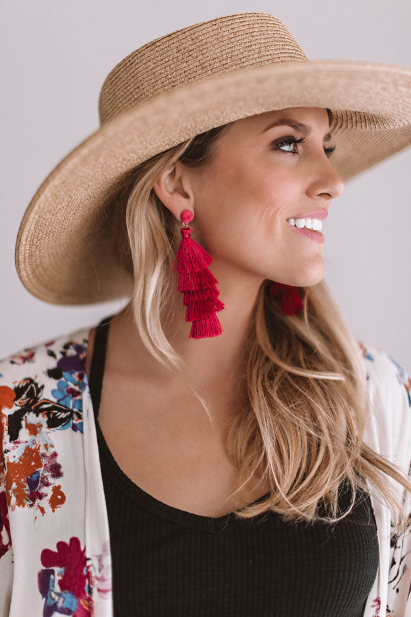 Wanna Dance All Night Tassel Earrings In Fuchsia