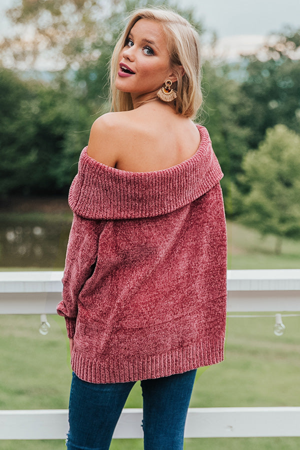 Pumpkin Spice Pretty Chenille Sweater in Rustic Rose