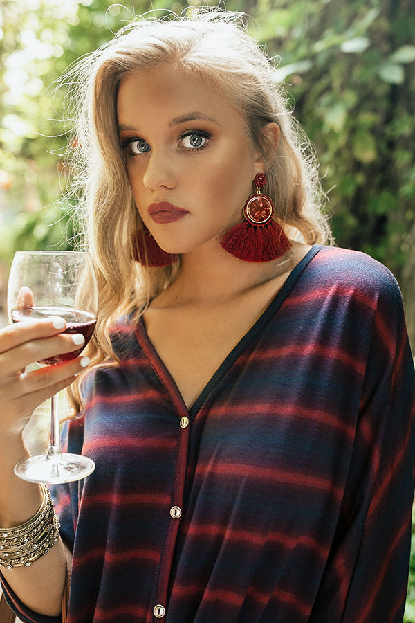 Take Me On A Getaway Tassel Earrings In Wine