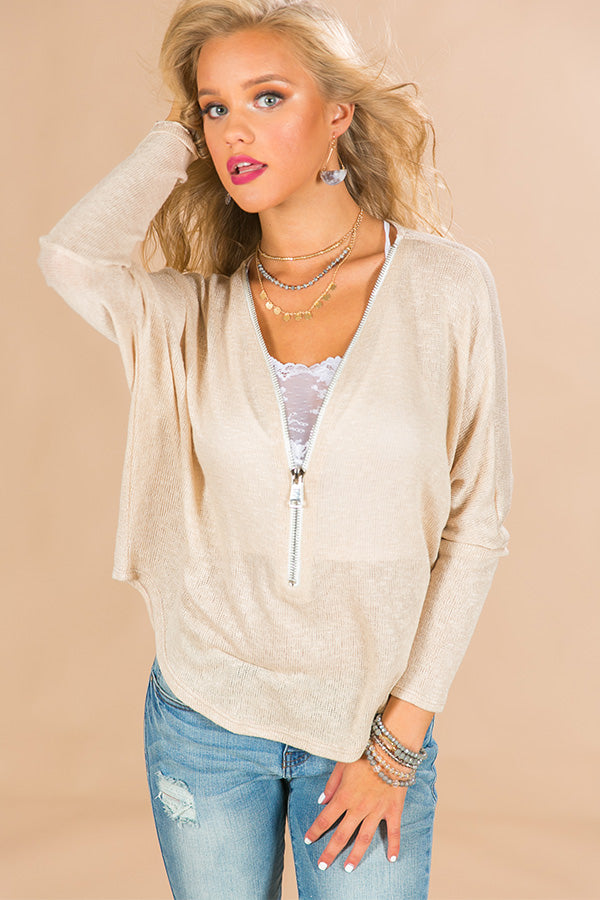 Fireside Favorite Knit Top in Iced Latte