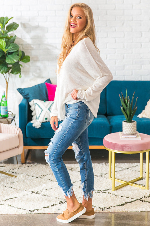 Fireside Favorite Knit Top in White