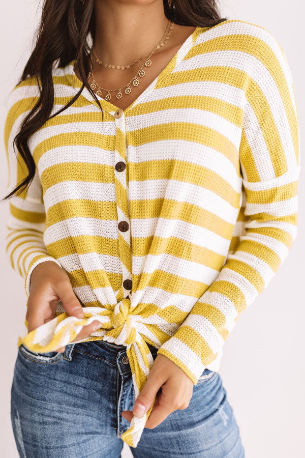 Cozier Times Waffle Knit Top in Lime Punch