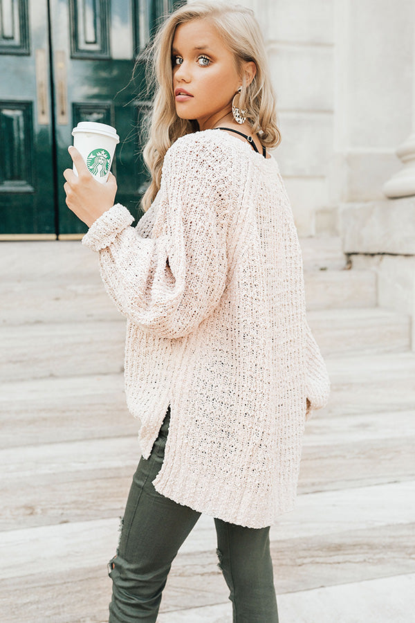 East Coast Snuggles Knit Sweater in Stone