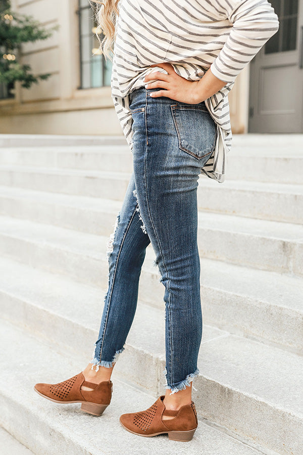 The Claire Mid Rise Distressed Skinny