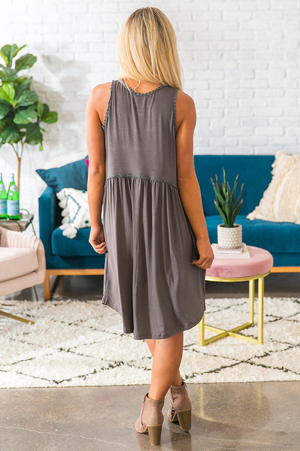 My Heart Is Yours Shift Dress in Charcoal