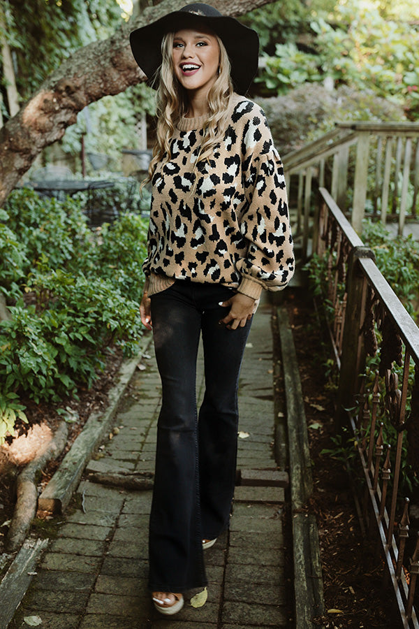 Spotted In Manhattan Leopard Sweater in Iced Mocha