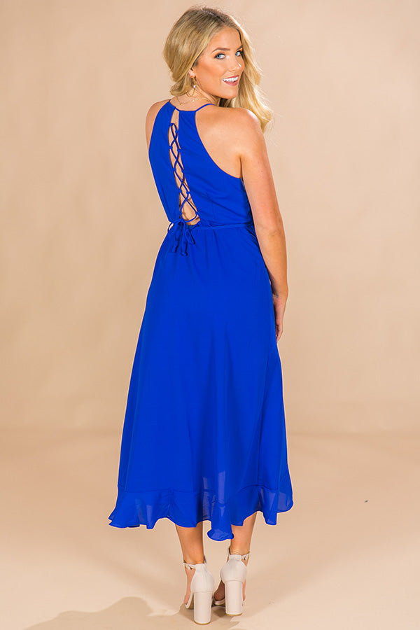 That's A Wrap Ruffle Maxi n Royal Blue